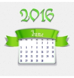 June 2016 calendar template vector