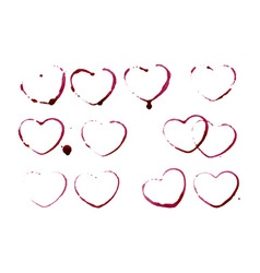 Grunge heart shape prints vector