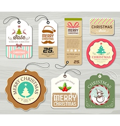 Colorful label paper merry christmas concept vector