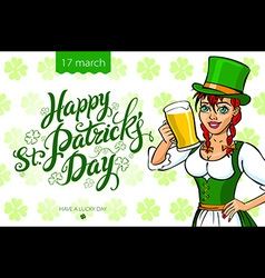 Pretty leprechaun girl with beer St Patricks Day vector image