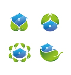 Green house icons set vector