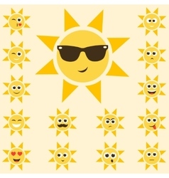 Sun set with funny smiley faces vector