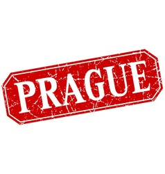 Prague red square grunge retro style sign vector
