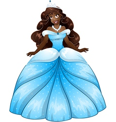 African Princess In Blue Dress vector image vector image