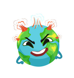 angry earth planet character with volcanoes vector image vector image