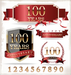 Anniversary red and gold labels vector