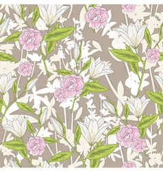 Background with lilly flowers and roses vector