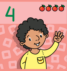 Boy showing four by hand counting education card 4 vector