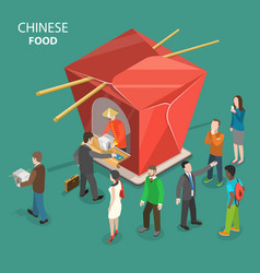 chinese food flat isometric low poly concept vector image vector image