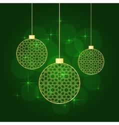 christmas balls green background vector image vector image