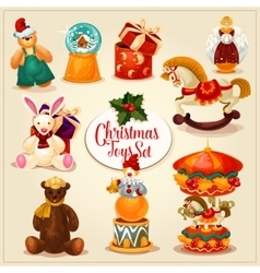 Christmas toy and gift box set for xmas design vector