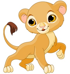 Cute lion cub vector