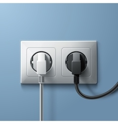 Electric white and black plugs with plastic socket vector