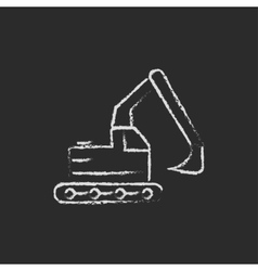 Excavator icon drawn in chalk vector
