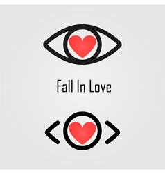 Eye icon and heart icon vector