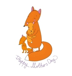 Family of cute cartoon fox funny animals happy vector