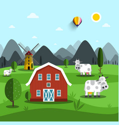 farm cartoon landscape with cows and house vector image