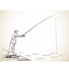 fishing man vector image vector image
