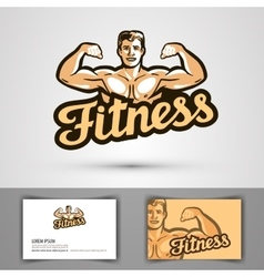 fitness logo gym or bodybuilding icon vector image vector image