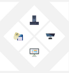 flat icon laptop set of pc computer mouse vector image vector image
