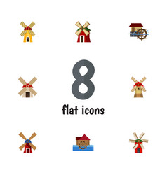 Flat icon mill set of wheel ecology wind energy vector