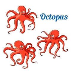Funny and joyful cartoon red octopuses vector