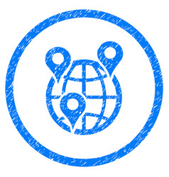 Global company branches rounded grainy icon vector