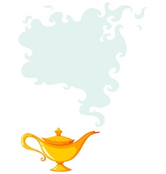 Golden lamp with smoke coming out vector image vector image