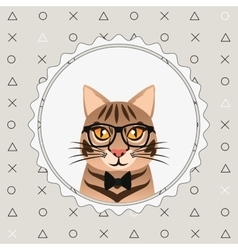 Hipster style cat image vector