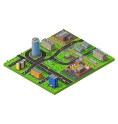 Isometric city industrial area composition poster vector