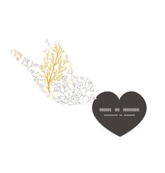Magical floral birds holding heart vector