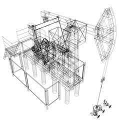 oil pump jack rendering of 3d vector image