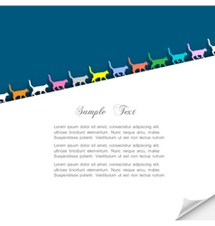 Paper background with colorful silhouettes cats vector image vector image