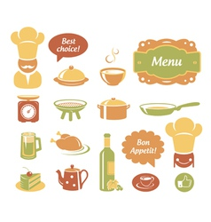 Restaurant and kitchen icons set vector image vector image