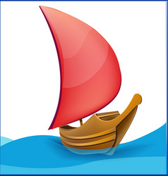 Romantic boat with red sail vector