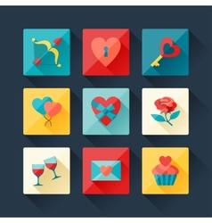 Set of Valentines and Wedding icons in flat design vector image vector image