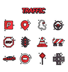 Traffic flat icons set vector