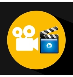 video player concept clapper and movie camera vector image