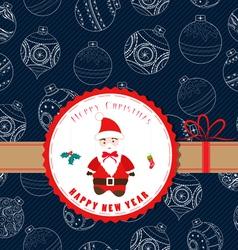 Vintage retro christmas label with santa claus vector
