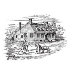 Washingtons house in fredericksburg vintage vector