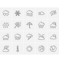 Weather sketch icon set vector image