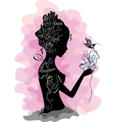 Girl silhouette made from letters vector