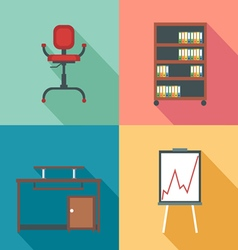Modern office rurniture set in outlines digital im vector
