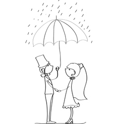Cute Wedding Couple Standing Under an Umbrella vector image
