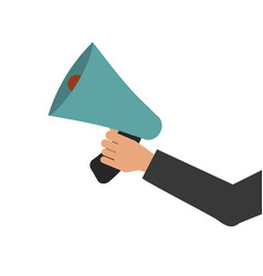 Megaphone in hand bullhorn communication message vector