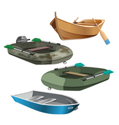 Set of boats realistic vector