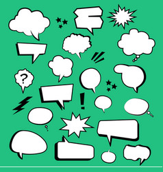 Comic cartoon text boxes with elements and green vector