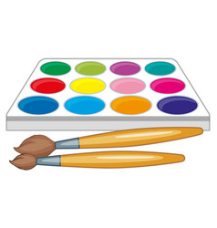 Watercolor palette and two paintbrushes vector