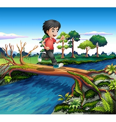 A boy running while crossing the river vector image