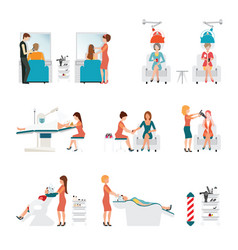 Hair beauty salon with hairdresser and customer vector
